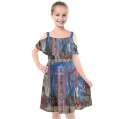 Las Vegas Downtown Urban Abstract Reflections Kids  Cut Out Shoulders Chiffon Dress by CrypticFragmentsDesign