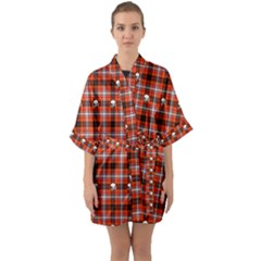 Plaid   Red With Skulls Quarter Sleeve Kimono Robe by WensdaiAmbrose