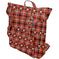 Plaid - Red With Skulls Buckle Up Backpack by WensdaiAmbrose