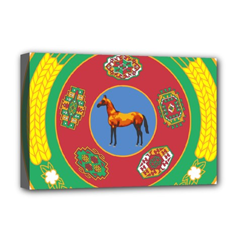 Turkmenistan National Emblem, 2000-2003 Deluxe Canvas 18  X 12  (stretched) by abbeyz71