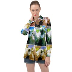 Snowball Branch Collage (i) Long Sleeve Satin Shirt by okhismakingart