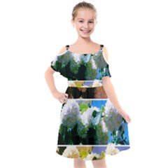 Snowball Branch Collage (i) Kids  Cut Out Shoulders Chiffon Dress by okhismakingart