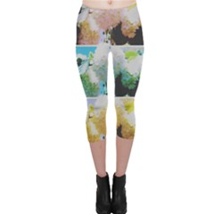 Faded Snowball Branch Collage (ii) Capri Leggings  by okhismakingart