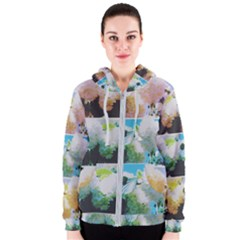 Faded Snowball Branch Collage (ii) Women s Zipper Hoodie by okhismakingart