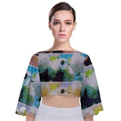 Faded Snowball Branch Collage (ii) Tie Back Butterfly Sleeve Chiffon Top by okhismakingart