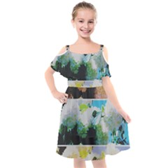Faded Snowball Branch Collage (ii) Kids  Cut Out Shoulders Chiffon Dress by okhismakingart