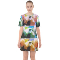 Bright Snowball Branch Collage (iii) Sixties Short Sleeve Mini Dress by okhismakingart