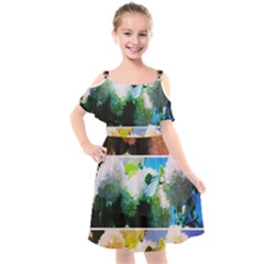 Bright Snowball Branch Collage (iii) Kids  Cut Out Shoulders Chiffon Dress by okhismakingart