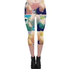 Washed Out Snowball Branch Collage (iv) Capri Leggings  by okhismakingart