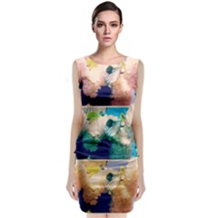Washed Out Snowball Branch Collage (iv) Sleeveless Velvet Midi Dress by okhismakingart