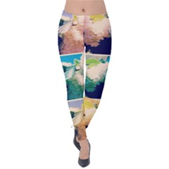 Washed Out Snowball Branch Collage (iv) Velvet Leggings by okhismakingart