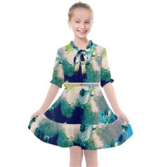 Washed Out Snowball Branch Collage (iv) Kids  All Frills Chiffon Dress by okhismakingart