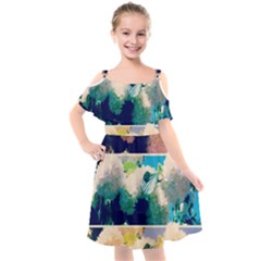 Washed Out Snowball Branch Collage (iv) Kids  Cut Out Shoulders Chiffon Dress by okhismakingart