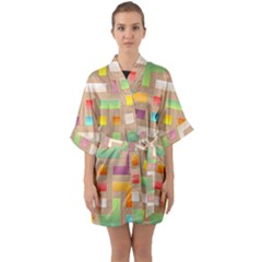 Abstract Background Colorful Quarter Sleeve Kimono Robe