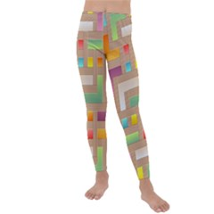 Abstract Background Colorful Kids  Lightweight Velour Leggings