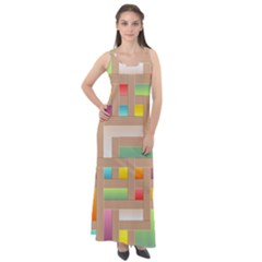 Abstract Background Colorful Sleeveless Velour Maxi Dress