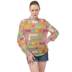 Abstract Background Colorful High Neck Long Sleeve Chiffon Top