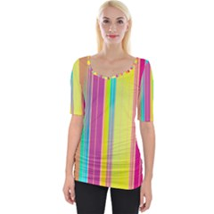 Background Colorful Abstract Wide Neckline Tee
