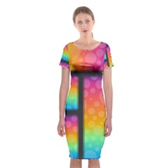 Background Colorful Abstract Classic Short Sleeve Midi Dress by Pakrebo
