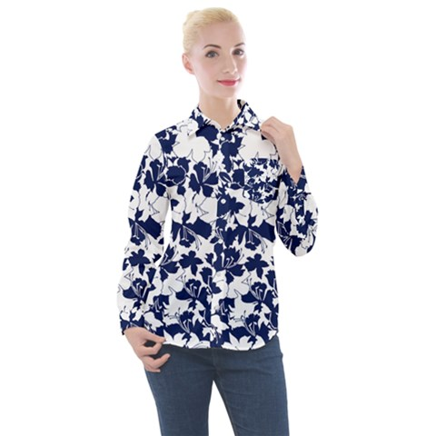 Flowers Garden Textiles Fabric Women s Long Sleeve Pocket Shirt by Pakrebo