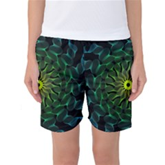 Abstract Ribbon Green Blue Hues Women s Basketball Shorts