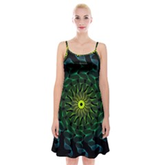 Abstract Ribbon Green Blue Hues Spaghetti Strap Velvet Dress