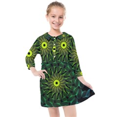 Abstract Ribbon Green Blue Hues Kids  Quarter Sleeve Shirt Dress