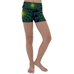 Abstract Ribbon Green Blue Hues Kids  Lightweight Velour Yoga Shorts by Pakrebo