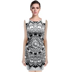 Mandala Spiritual Texture Sleeveless Velvet Midi Dress