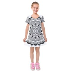 Mandala Spiritual Texture Kids  Short Sleeve Velvet Dress by Pakrebo