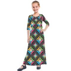 Seamless Pattern Background Abstract Kids  Quarter Sleeve Maxi Dress by Pakrebo