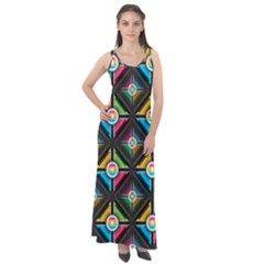 Seamless Pattern Background Abstract Sleeveless Velour Maxi Dress