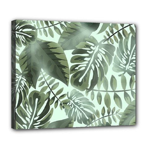 Medellin Leaves Tropical Jungle Deluxe Canvas 24  X 20  (stretched) by Pakrebo