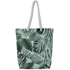 Medellin Leaves Tropical Jungle Full Print Rope Handle Tote (small) by Pakrebo