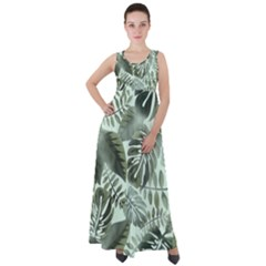 Medellin Leaves Tropical Jungle Empire Waist Velour Maxi Dress
