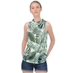 Medellin Leaves Tropical Jungle High Neck Satin Top