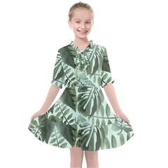 Medellin Leaves Tropical Jungle Kids  All Frills Chiffon Dress by Pakrebo