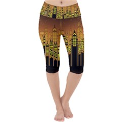 Buildings Skyscrapers City Lightweight Velour Cropped Yoga Leggings