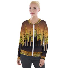 Buildings Skyscrapers City Velour Zip Up Jacket