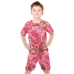 Roses Noble Roses Romantic Pink Kids  Tee And Shorts Set