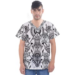 Ancient Parade Ancient Civilization Men s V Neck Scrub Top