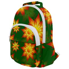 Flower Pattern Floral Non Seamless Rounded Multi Pocket Backpack