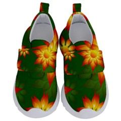 Flower Pattern Floral Non Seamless Kids  Velcro No Lace Shoes by Pakrebo