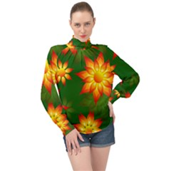 Flower Pattern Floral Non Seamless High Neck Long Sleeve Chiffon Top