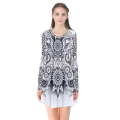 Forest Patrol Tribal Abstract Long Sleeve V Neck Flare Dress