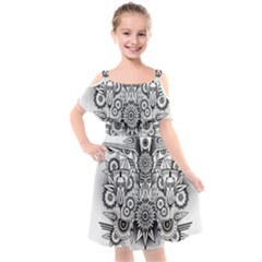 Forest Patrol Tribal Abstract Kids  Cut Out Shoulders Chiffon Dress by Pakrebo