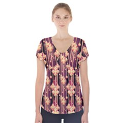 Illustrations Seamless Pattern Short Sleeve Front Detail Top