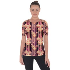 Illustrations Seamless Pattern Shoulder Cut Out Short Sleeve Top