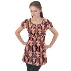 Illustrations Seamless Pattern Puff Sleeve Tunic Top