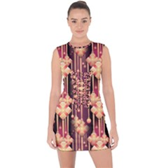 Illustrations Seamless Pattern Lace Up Front Bodycon Dress